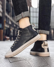 Colorblock Lace-up Round-toe Sneaker