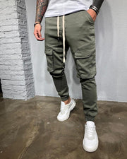 Solid Drawstring Loose Cargo Pants