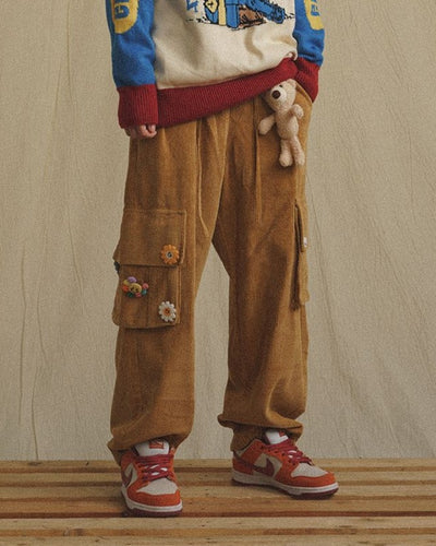 Solid Color Splicing Cartoon Ornaments Corduroy Straight Cargo Pants
