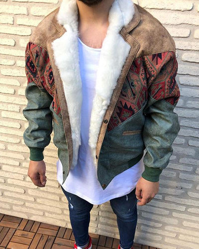 Splicing Printing Long Sleeve Coat