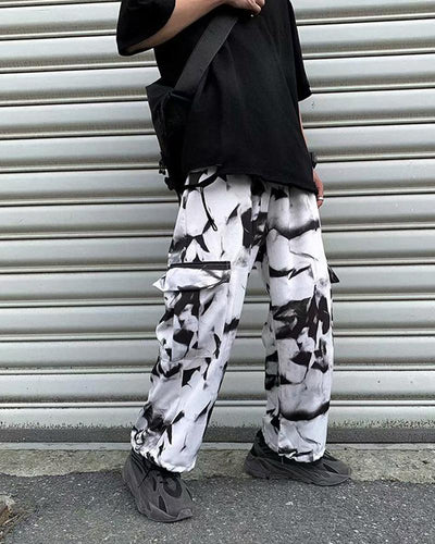 Retro Tie Dye Ankle-tied Pants