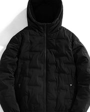 Solid Long Sleeve Loose Zip-up Quilted Coats