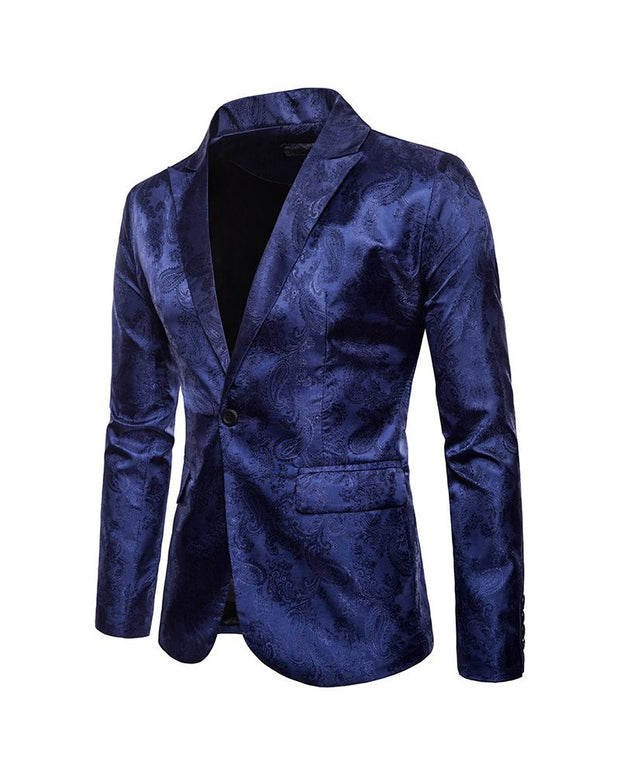 Solid Jacquard Long Sleeve One Buckle Blazer Coats