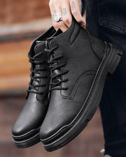 Solid Lace-up Round-toe Martins Boots
