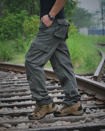 Solid Color Straight Cargo Pants With Pockets