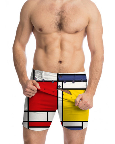 Color Block Cut-out Skinny Short Pants