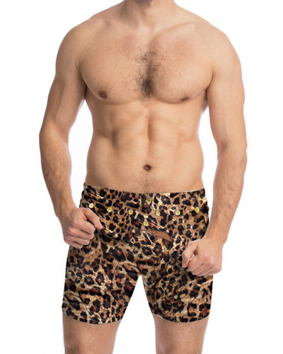 Leopard Print Skinny High Elastic Short Pants