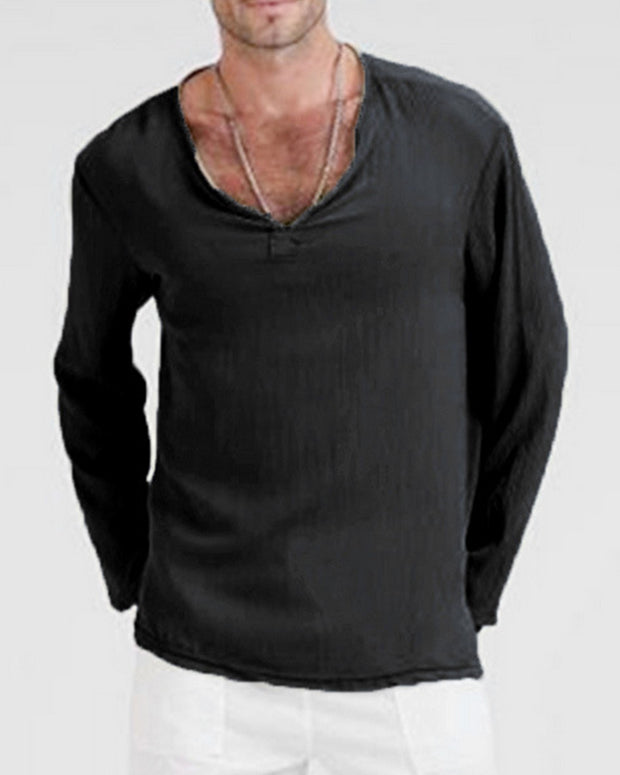 Solid Color Long Sleeve Loose T-shirt