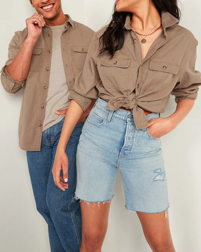 Solid Long Sleeve Loose Button-up Couple Shirts