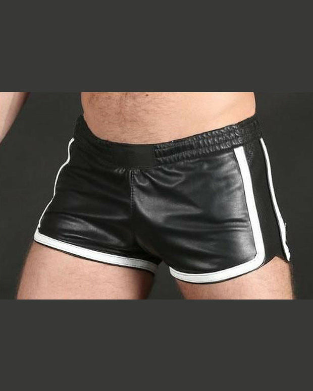 Solid Color Striped Side PU Leather Short Pants