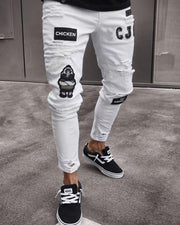 Embroidery Decoration Skinny Ripped Tapper Denim Pants