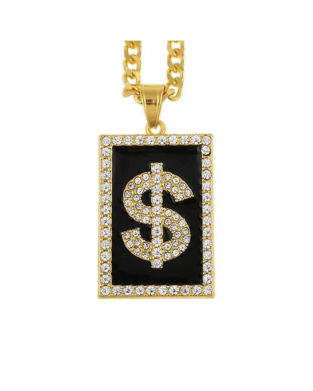 Hip-hop Dollar Studded Rectangular Pendant Necklace