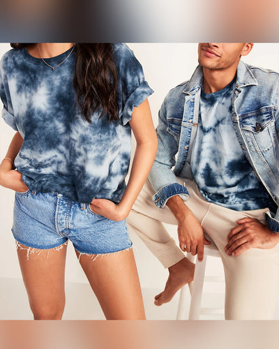 Tie Dye Short Sleeve Loose Couple T-shirts