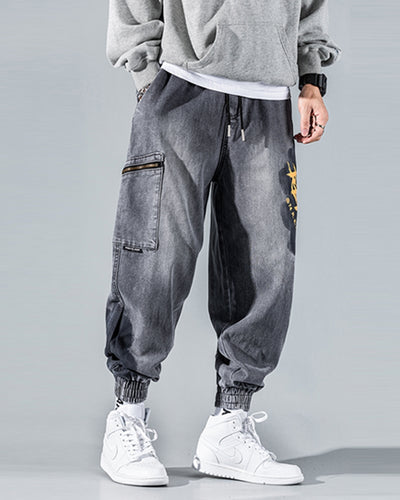 Solid Washing Effect Letter Print Loose Denim Cargo Pants