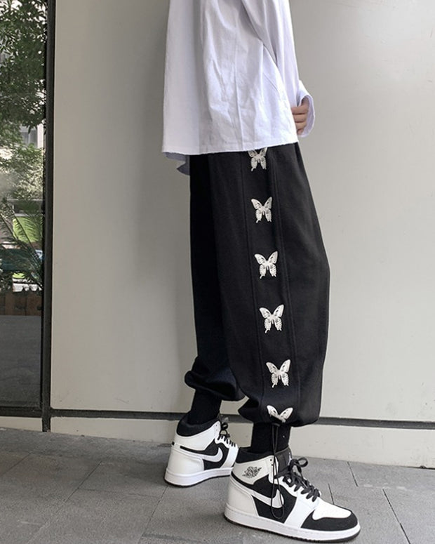 Butterfly Printing Loose Sweatpants