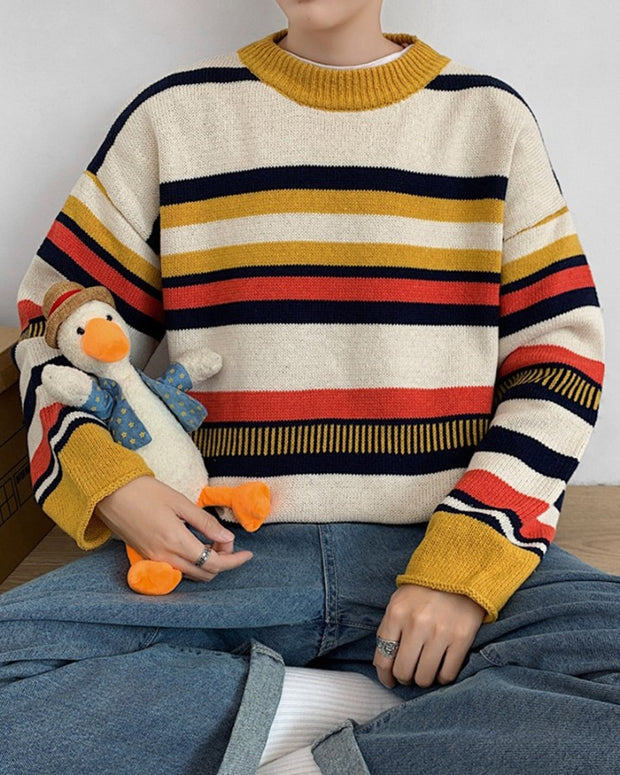 Multicolor Striped Long Sleeve Loose Sweaters