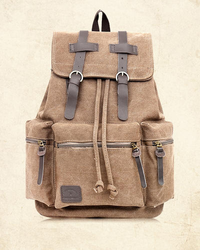 Solid Color Splicing Canvas Backpack