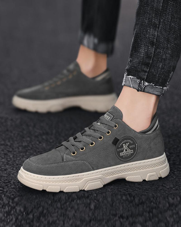 Logo Patch Round-toe Lace-up Suede Leather Sneakers