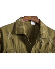 Solid Long Sleeve Ripped Cargo Jackets