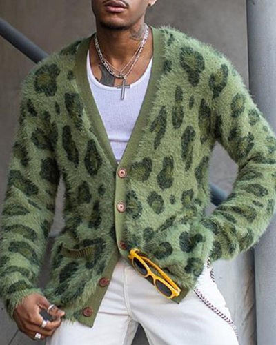 Leopard Long Sleeve Loose Cardigans