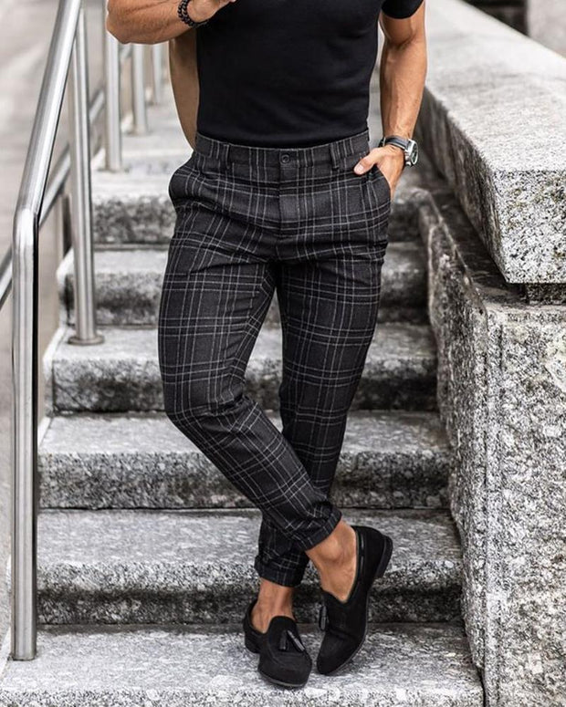 Plaid Business Slim Taper Pants