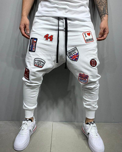 Logo Embroidery Drawstring Training Pants