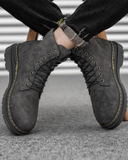 Color Block Lace-up Round-toe Martin Boots