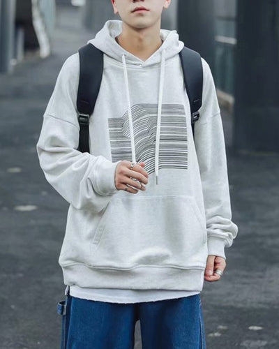 Striped Pattern Print Long Sleeve Hooded Sweatshirt