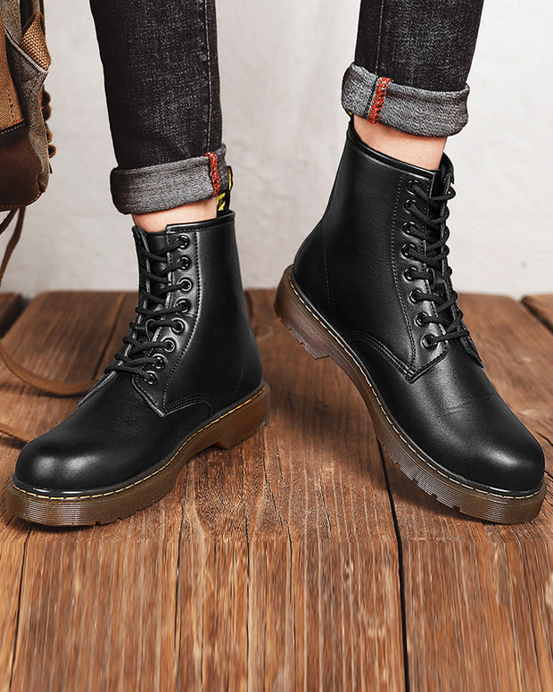 Round-toe Lace-up Solid Color Martin Boots
