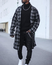 Casual Checked Mid-length Shirt Coat