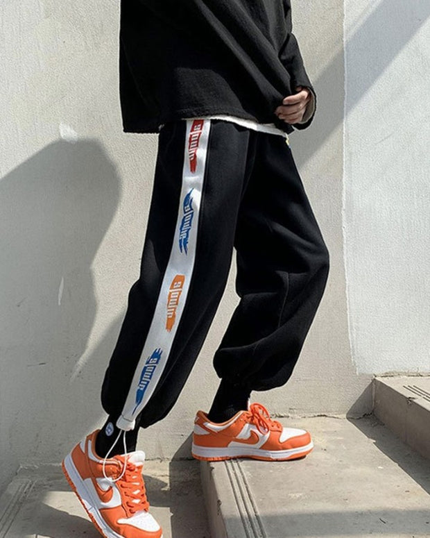 Stripe-side Letter Printing Loose Sweatpants