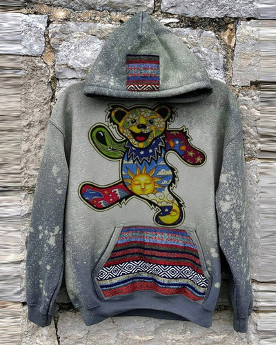 Colorful Bear Long Sleeve Loose Hooded Sweatshirts