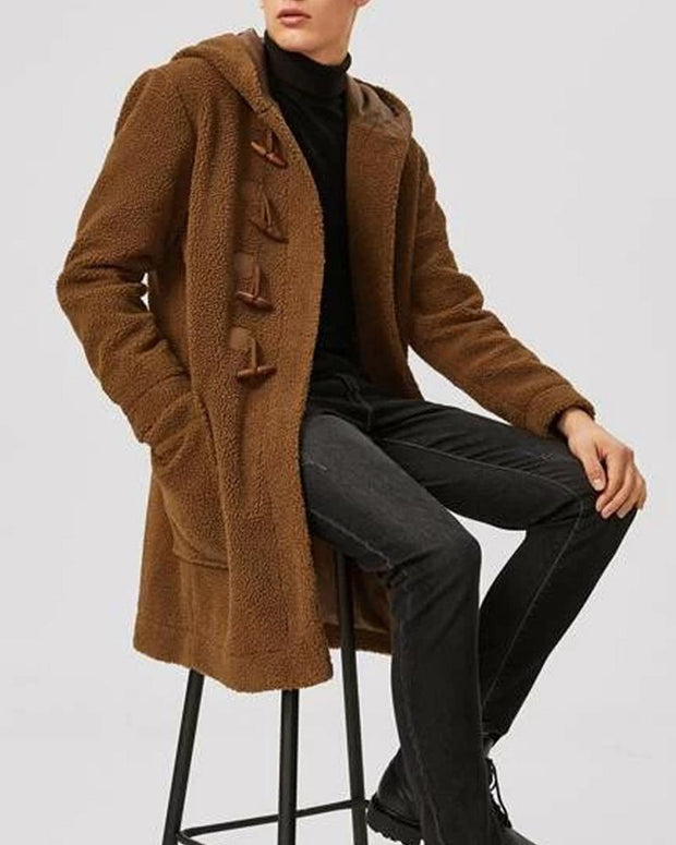 Solid Color Long Sleeve Hooded Coat