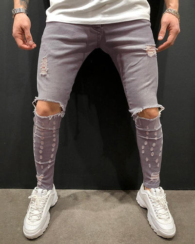 Fashionable Casual Gray Ripped Jeans