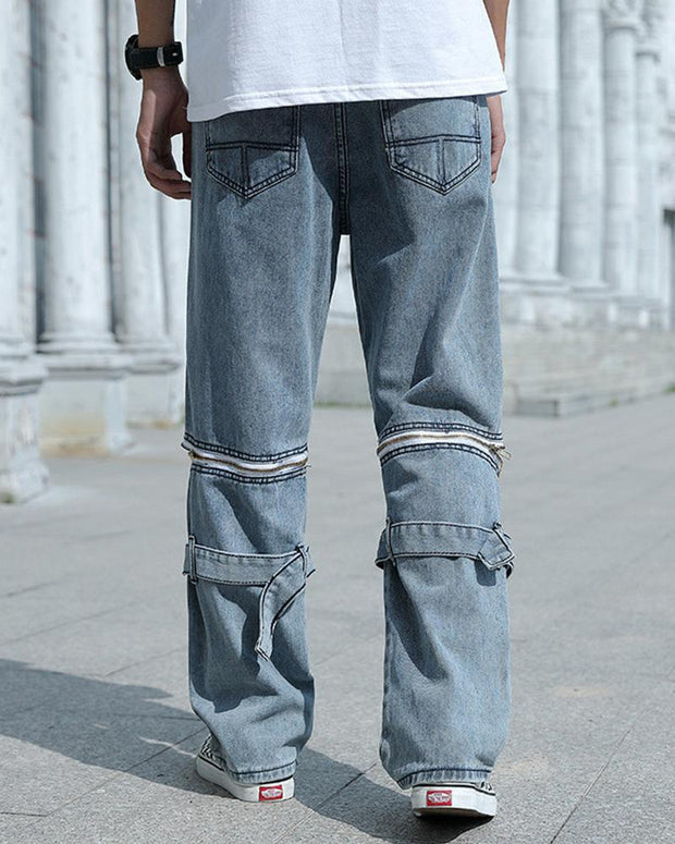 Zipper Fabric Splicing Loose Jeans