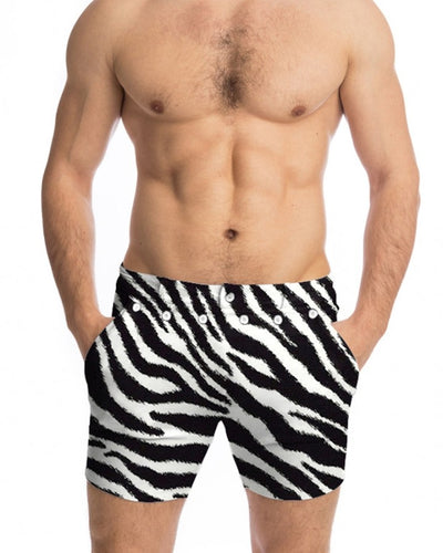 Zebra Striped Skinny High Elastic Short Pants