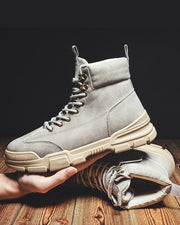 Retro Round-toe Lace-up High Top Martin Boots
