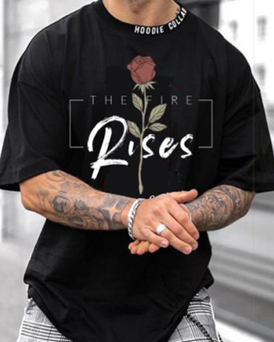 Rose & Letter Print Short Sleeve Loose T-shirts