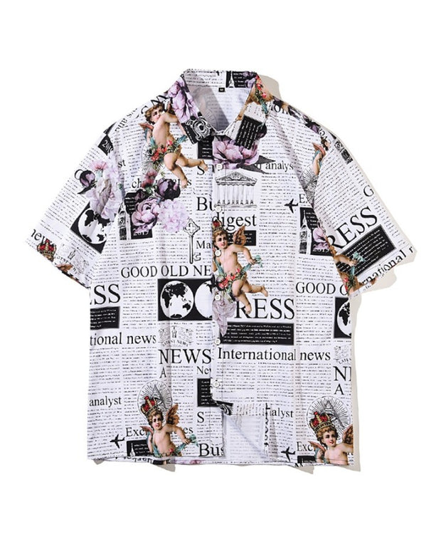 Letter And Cartton Print Short Sleeve Button-up Shirts