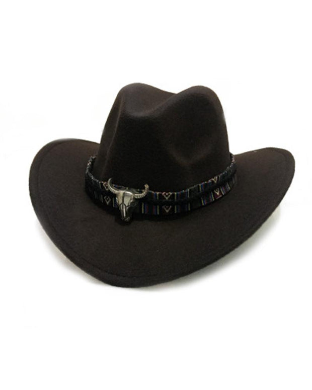 Vintage Cow Logo Solid Color Western Cowboy Hats