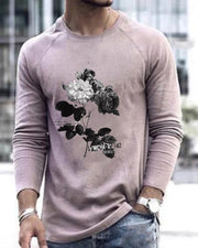 Rose Print Long Sleeve Fitting T-shirts