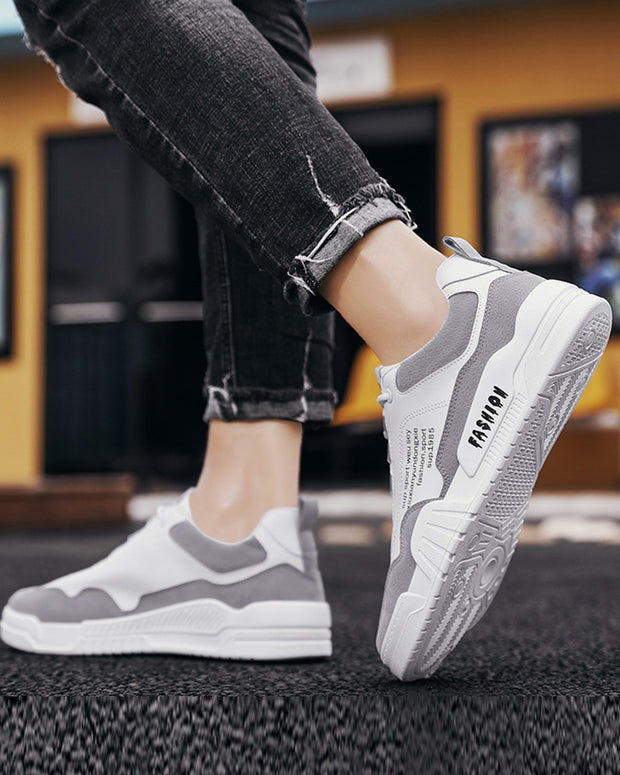 Colorblock Lace-up Round Toe Flat Sneaker