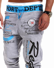 Letter Printing Lace-up Straight Pants