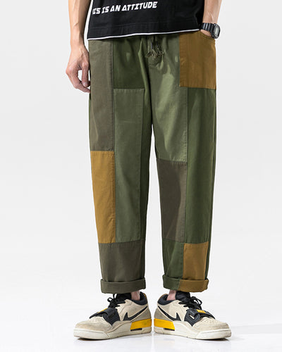 Color Patchwork Loose Cargo Pants