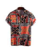 Print Single Breasted Loose Short Sleeve Shirts