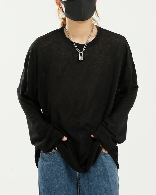 Solid Color Mesh Long Sleeve Loose T-shirt