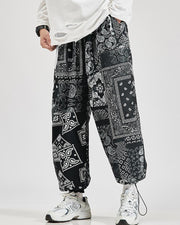 Tide Retro Style Print Drawstring Ankle-tied Pants