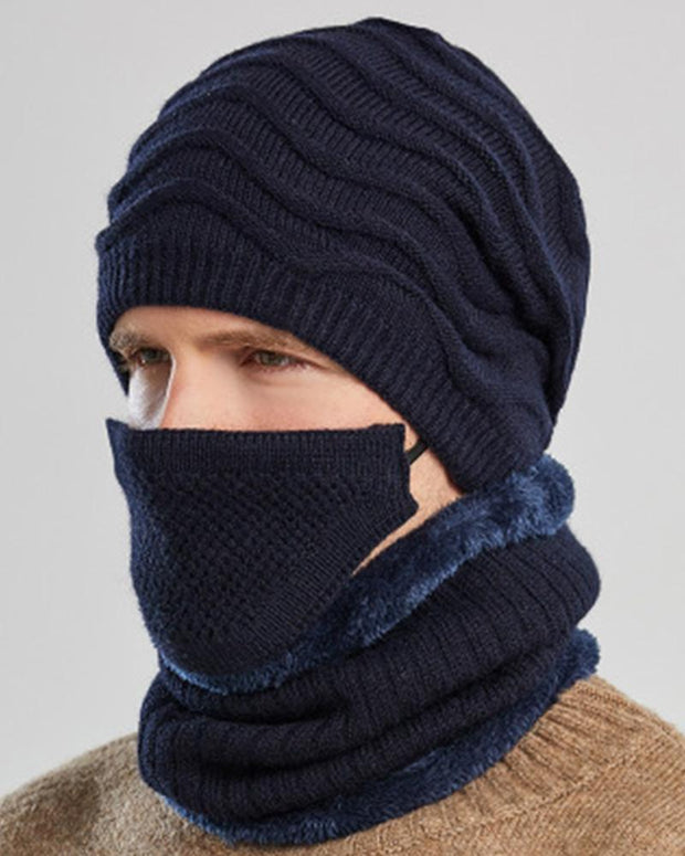 Solid knitted Hats With Scarf And Bandanas