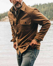 Solid Long Sleeve Button-down Jackets