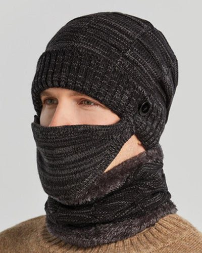 Solid Knited Hats With Scarf And Bandanas